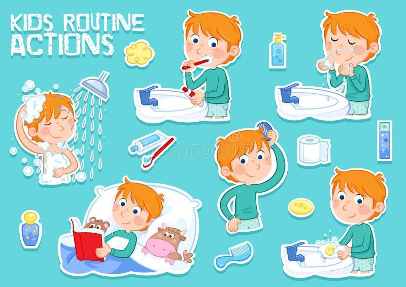 Petit garçon avec des cheveux de gingembre et sa routine quotidienne - bande dessinée illustration stock