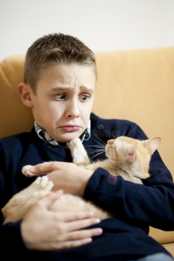 Petit garçon avec le chat photo stock