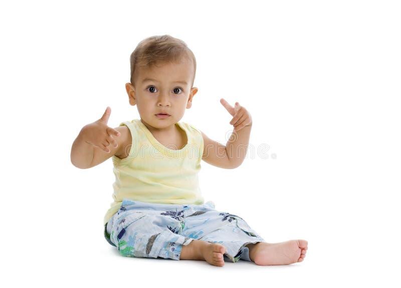 Petit garçon avec le geste de hiphop image libre de droits