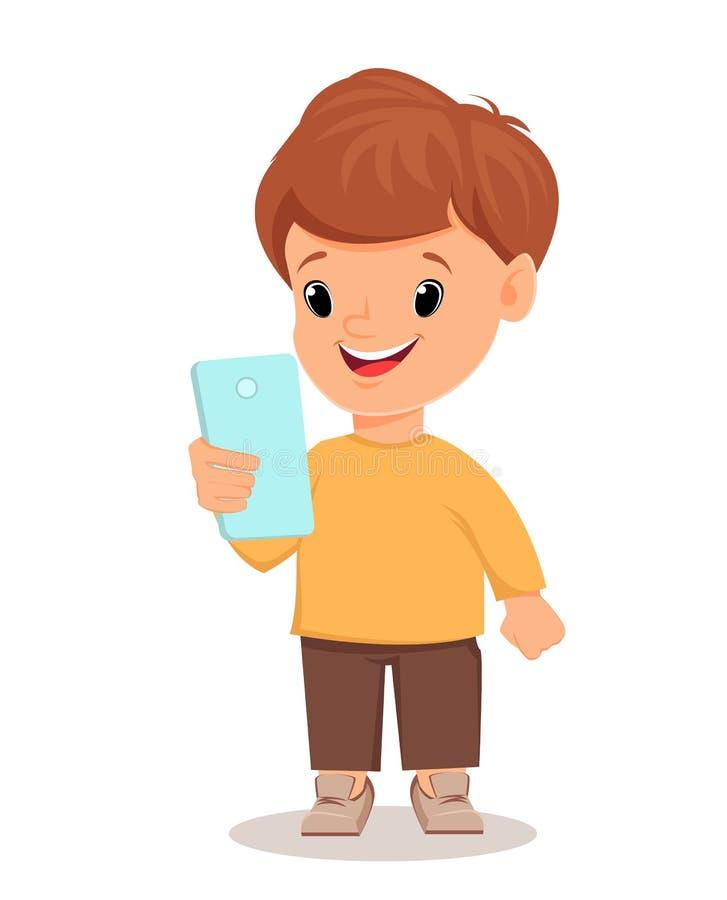 Petit gar on avec le smartphone personnage de dessin anim - Dessin petit garcon ...