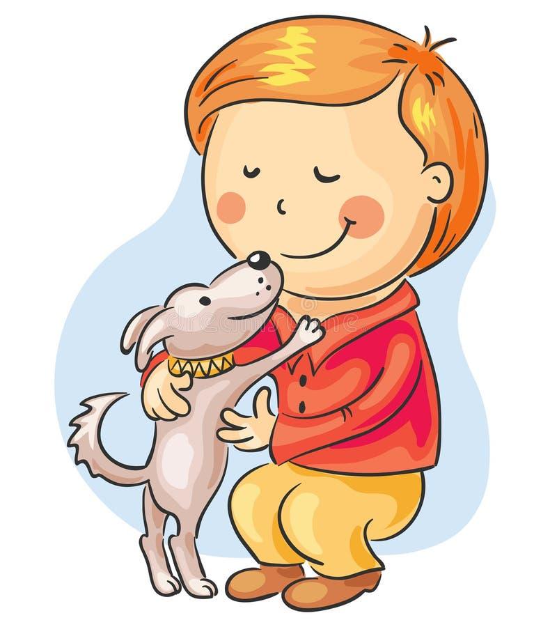 Petit garçon avec son crabot d'animal familier illustration stock