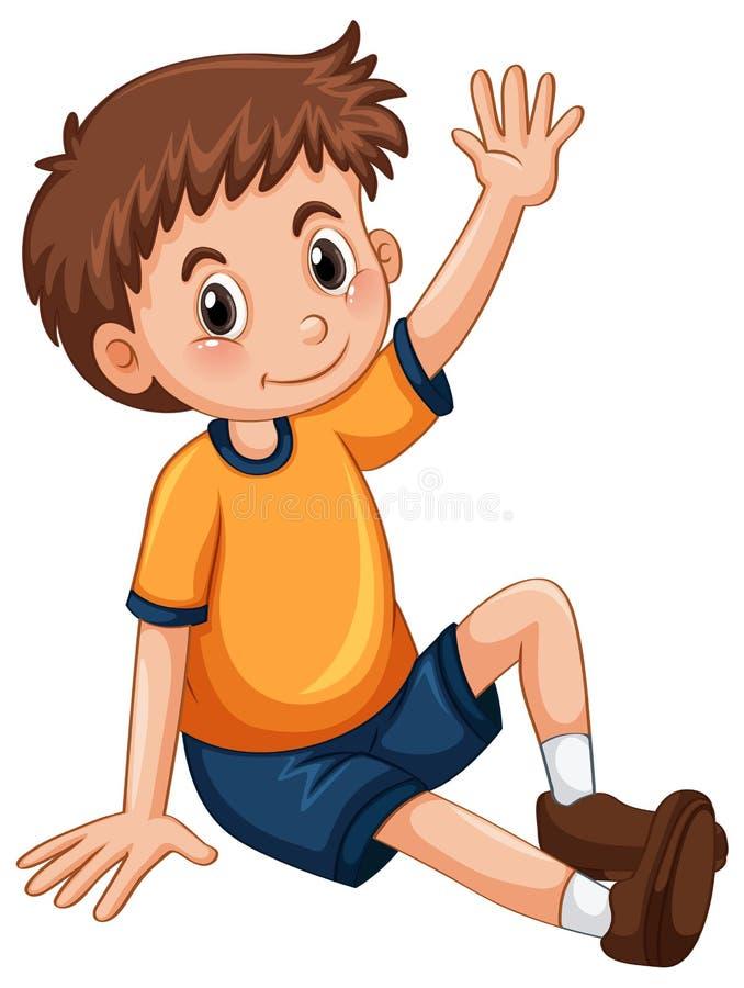 Petit garçon ayant le bras pour la question illustration stock