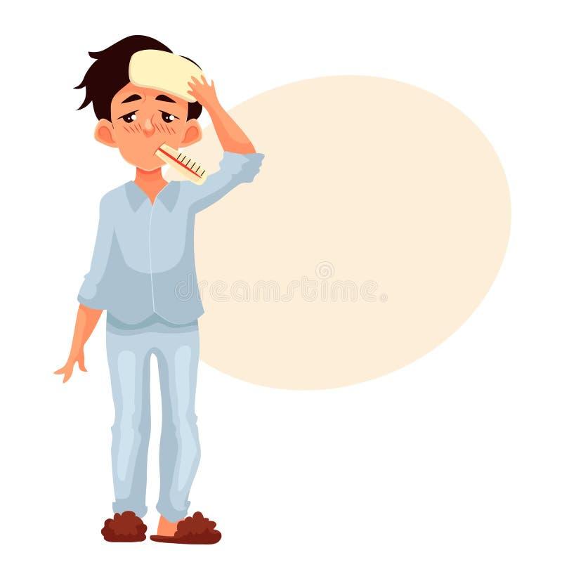 Petit garçon ayant le froid avec le thermomètre dans sa bouche illustration stock