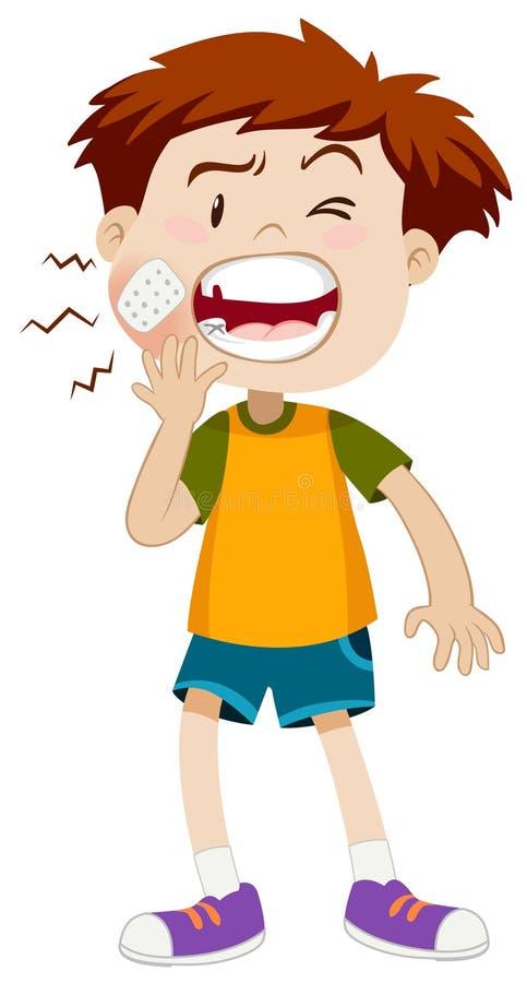 Petit garçon ayant le mal de dents illustration de vecteur