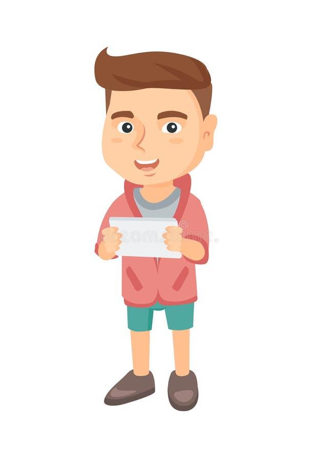 Petit garçon caucasien à l'aide d'une tablette illustration stock