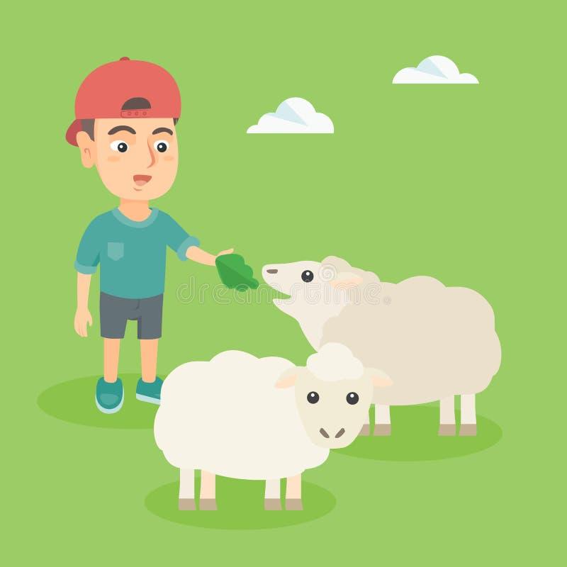 Petit garçon caucasien alimentant un mouton avec de la salade illustration stock