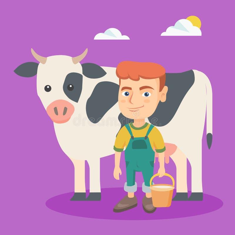 Petit garçon caucasien d'agriculteur trayant une vache illustration de vecteur