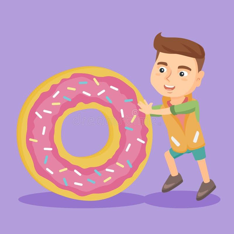 Petit garçon caucasien roulant un beignet doux énorme illustration libre de droits
