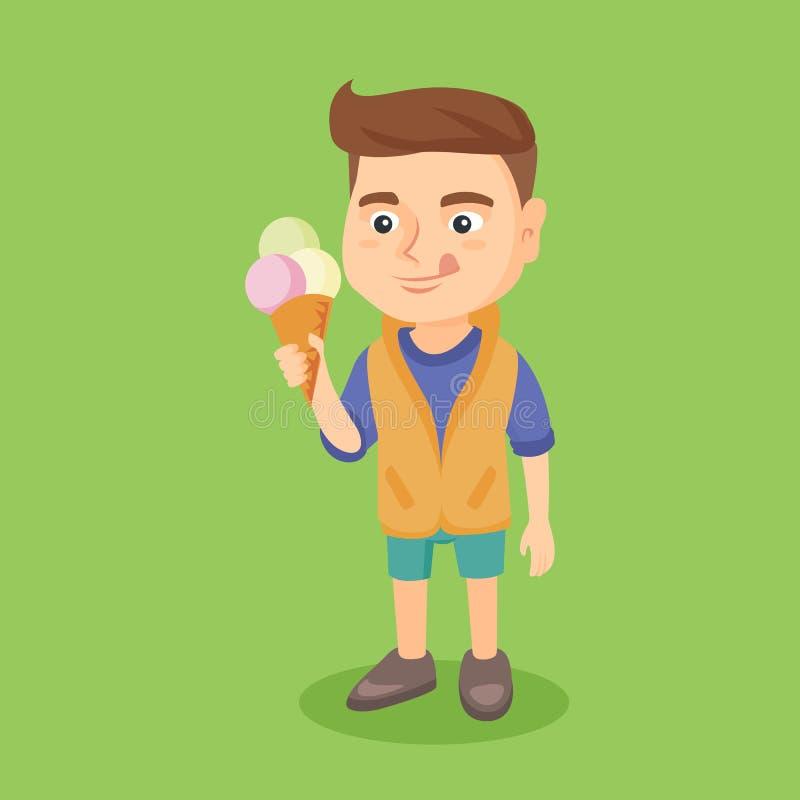 Petit garçon caucasien tenant un cornet de crème glacée illustration de vecteur