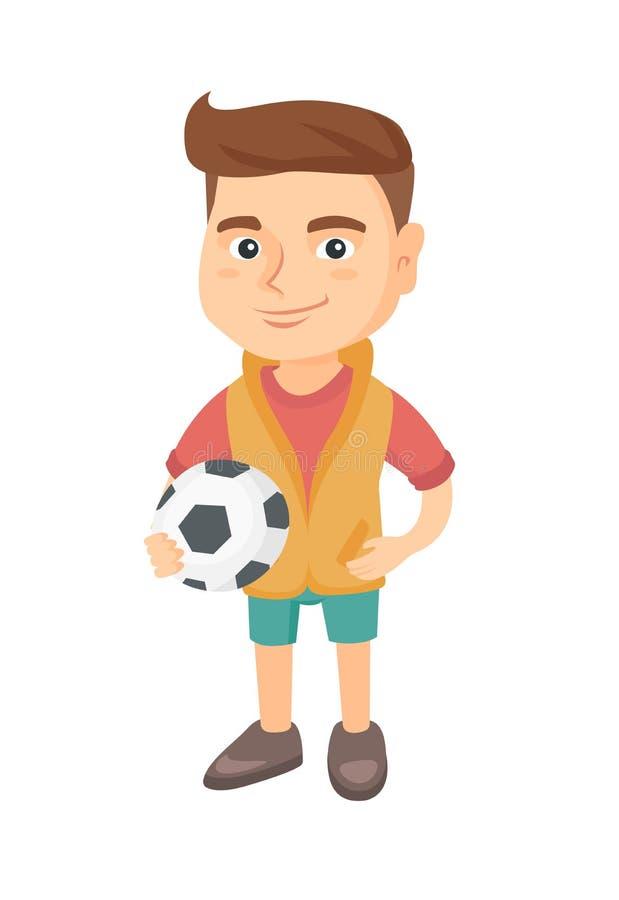 Petit garçon caucasien tenant une boule du football illustration de vecteur