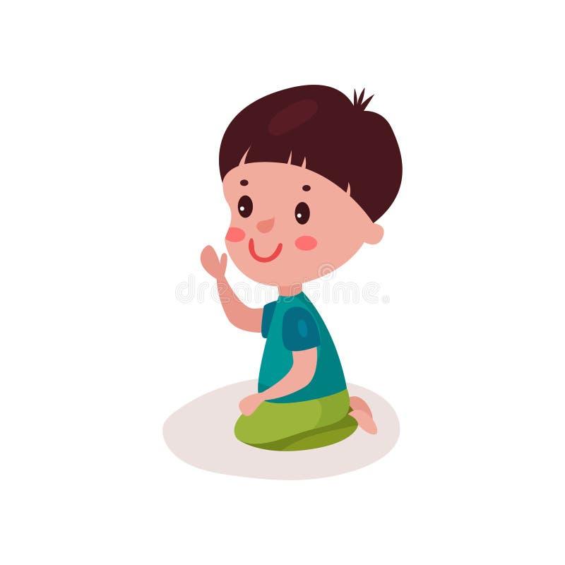 Petit garçon d'une chevelure foncé mignon s'asseyant sur le plancher, enfant apprenant et jouant l'illustration colorée de vecteu illustration de vecteur