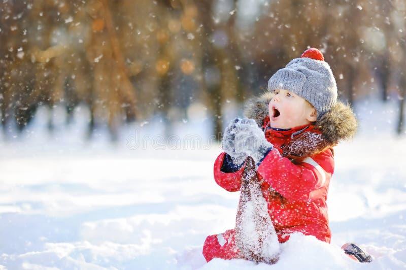 Petit garçon dans des vêtements rouges d'hiver ayant l'amusement avec la neige images libres de droits
