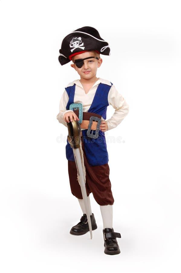 Petit garçon dans le costume de pirate image libre de droits