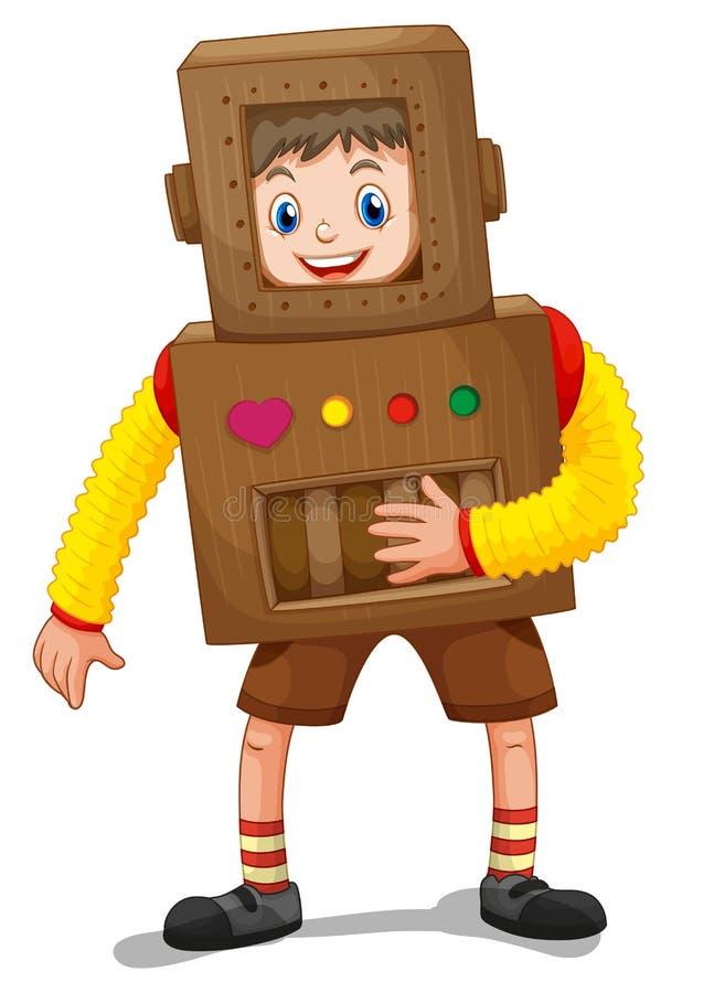 Petit garçon dans le costume de robot illustration stock