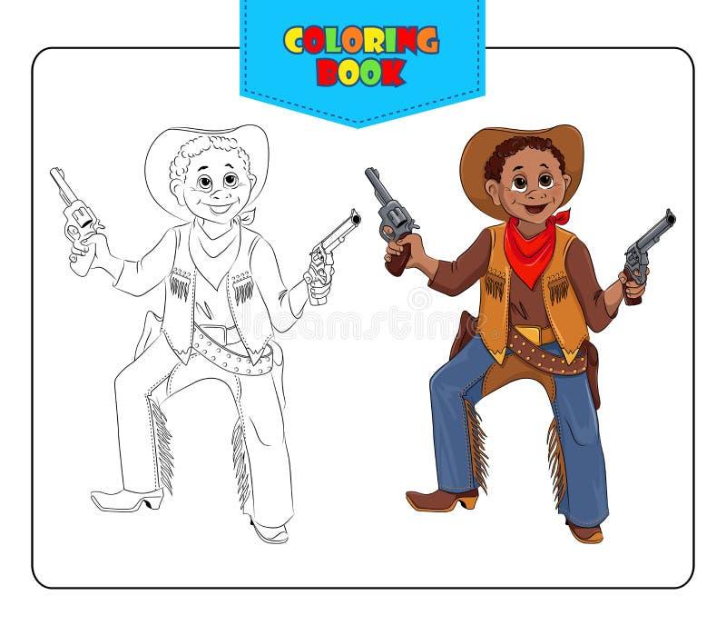 Petit garçon dans le cowboy de costume de carnaval Livre de coloration illustration de vecteur