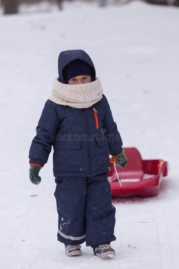 Petit garçon dans le manteau chaud et le chapeau tirant son traîneau dans le jour d'hiver froid Il chute de neige du ` s photographie stock libre de droits