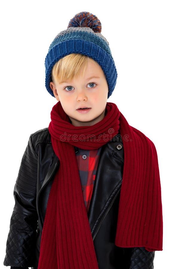 Petit garçon dans un chapeau et une écharpe photographie stock