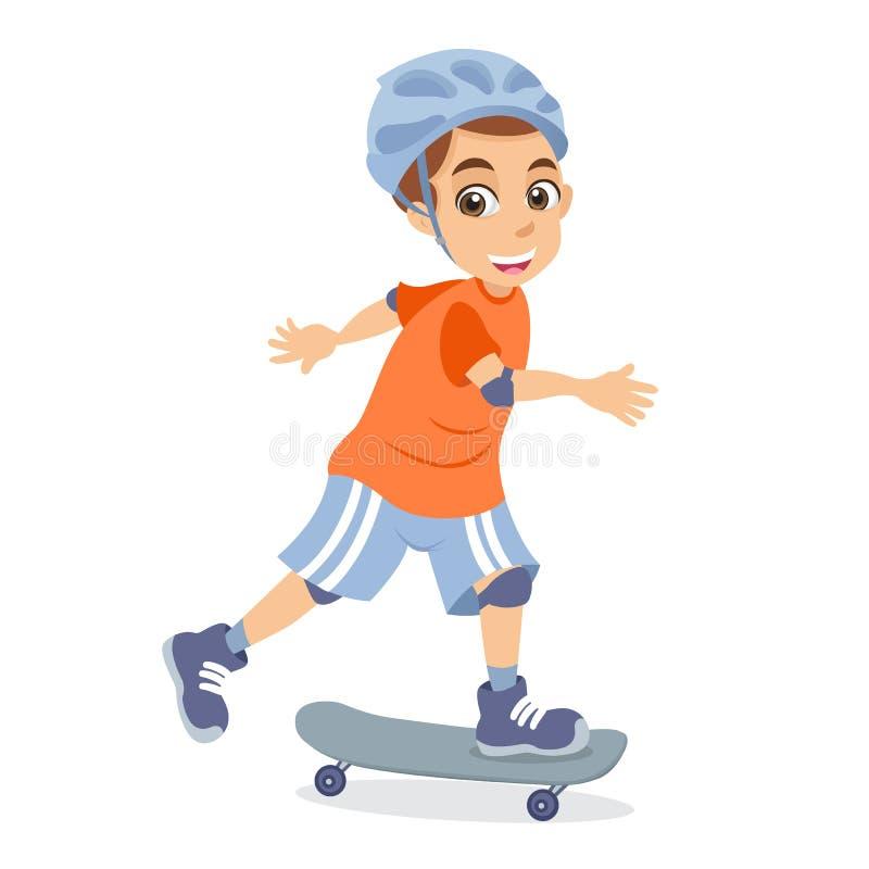 Petit garçon de bande dessinée mignonne faisant de la planche à roulettes illustration stock