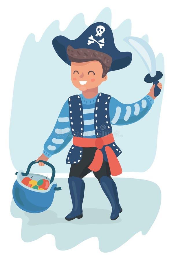 Petit garçon de pirate illustration de vecteur