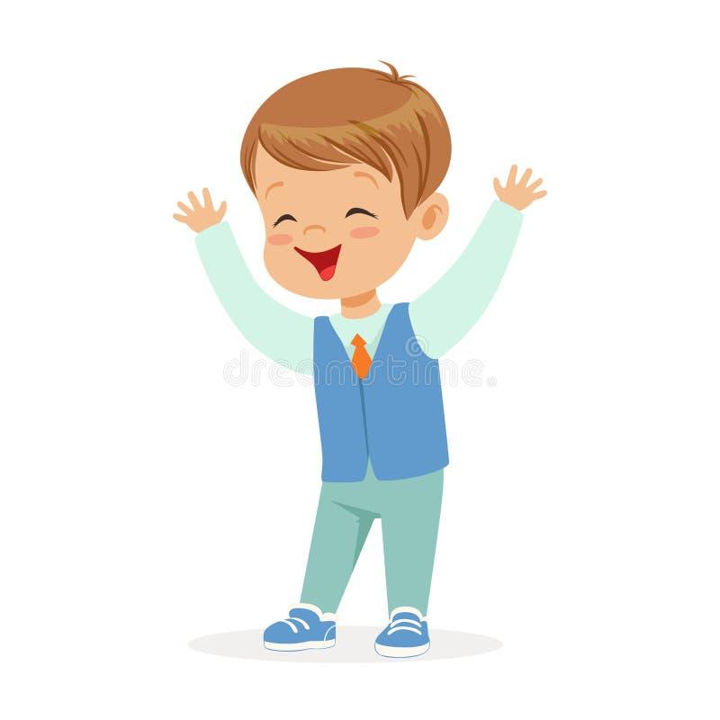 Petit garçon de sourire heureux dans l'illustration colorée de vecteur de personnage de dessin animé de vêtements élégants illustration stock
