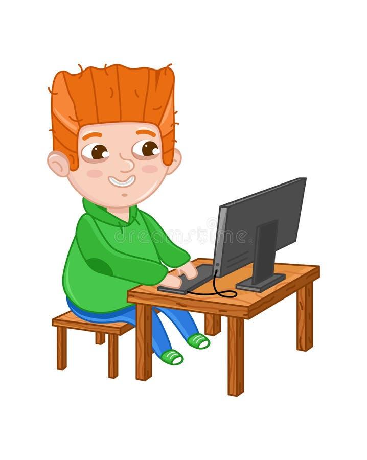 Petit garçon de sourire jouant sur l'ordinateur illustration stock