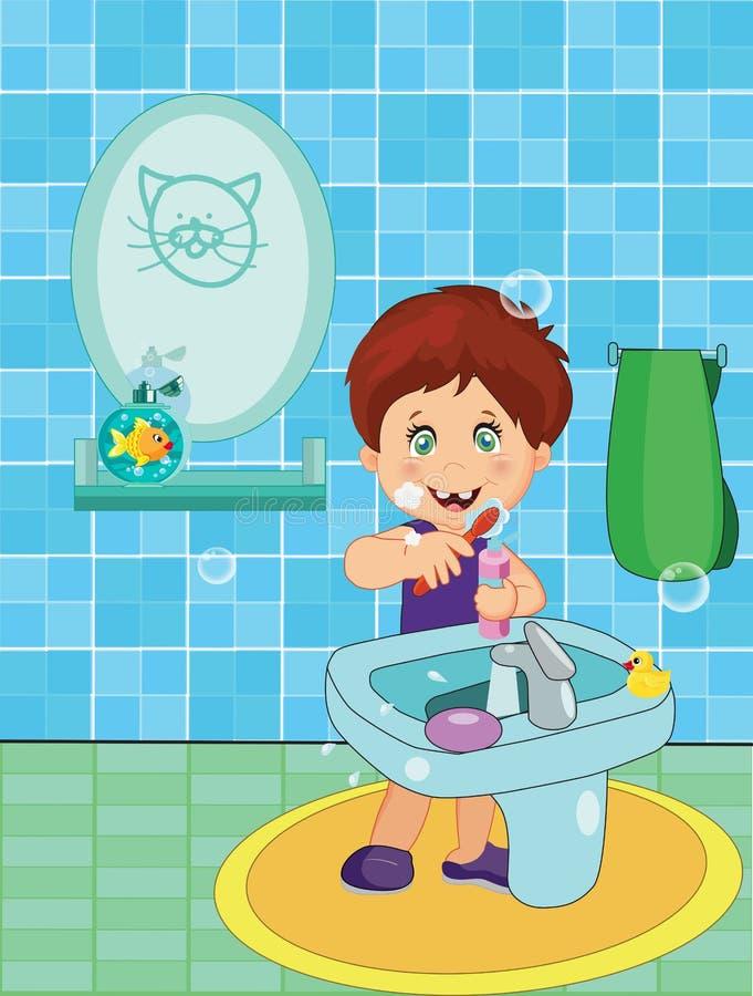 Petit garçon de sourire mignon dans des dents de brossage de sous-vêtements illustration stock