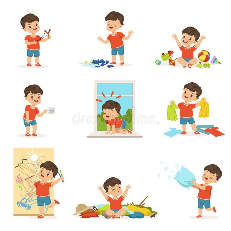 Petit garçon drôle jouant des jeux et faisant le désordre illustration libre de droits