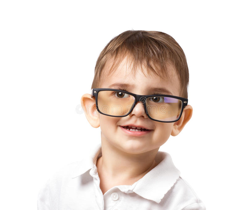 Petit garçon en grands verres images stock