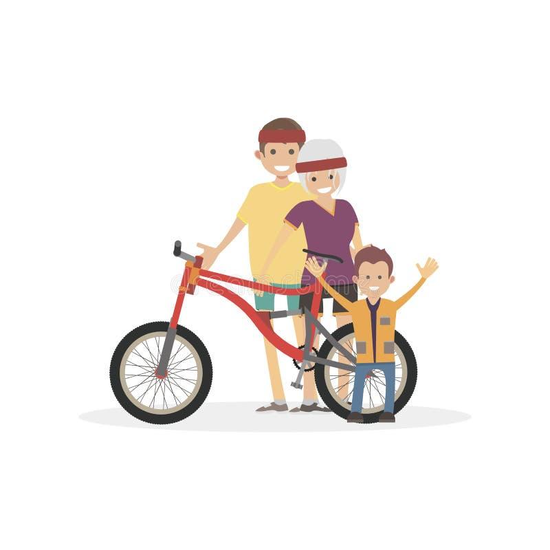 Petit garçon et fille, homme avec la bicyclette Athlète de femme, de mâle et de fils Personnes plates d'illustration de vecteur d illustration libre de droits