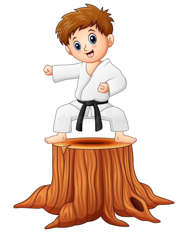 Petit garçon faisant le karaté sur le tronçon d'arbre illustration de vecteur