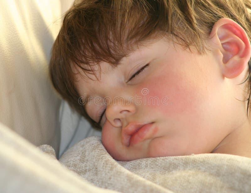 Petit garçon faisant une sieste images stock