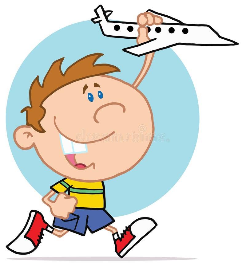 Petit garçon heureux jouant avec l'avion illustration libre de droits