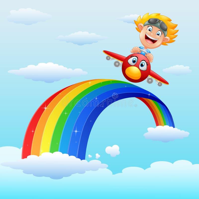 Petit garçon heureux montant un avion en arc-en-ciel proche illustration stock