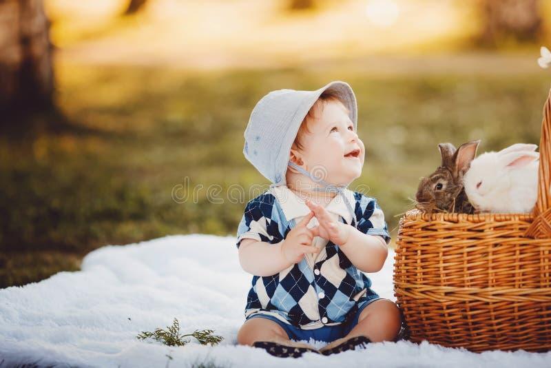 Petit garçon jouant avec des lapins images libres de droits