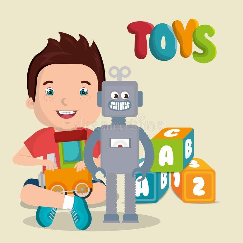 Petit garçon jouant avec le caractère de jouets illustration de vecteur