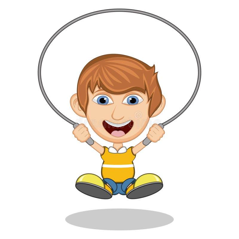Petit garçon jouant l'illustration de vecteur de bande dessinée de corde de saut illustration de vecteur