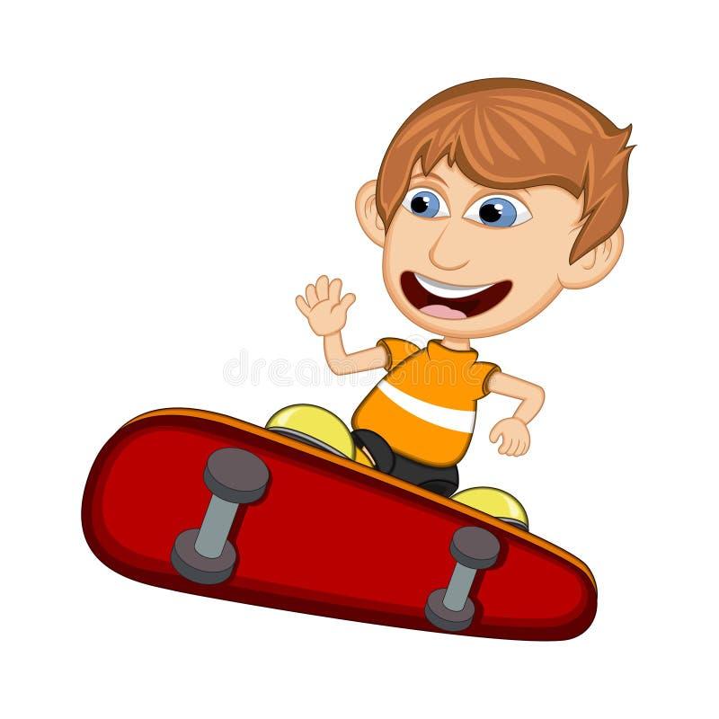 Petit garçon jouant l'illustration de vecteur de bande dessinée de panneau de patin illustration stock