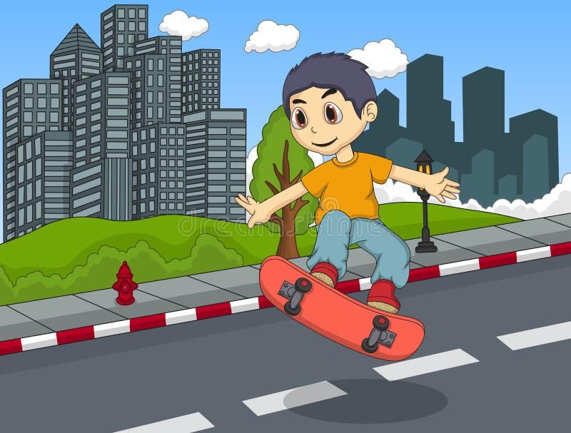 Petit garçon jouant la planche à roulettes dans la bande dessinée de rue illustration libre de droits