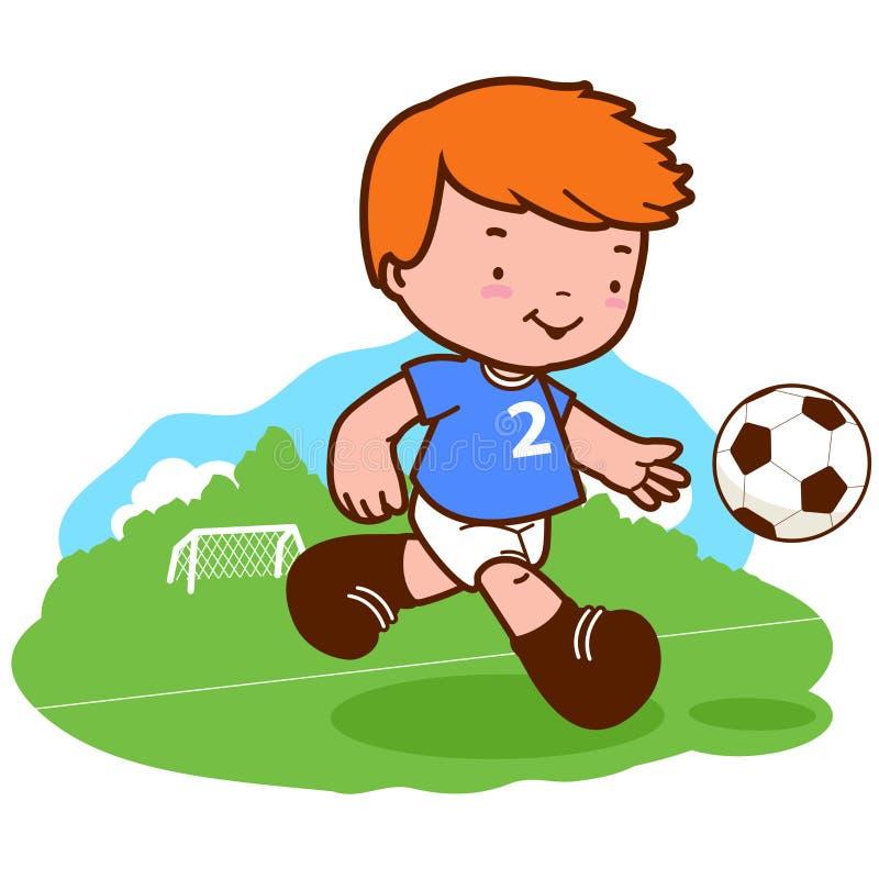 Petit garçon jouant le football illustration libre de droits