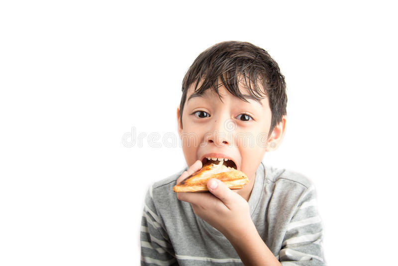 Petit garçon mangeant le sandwich sur le blanc photos libres de droits