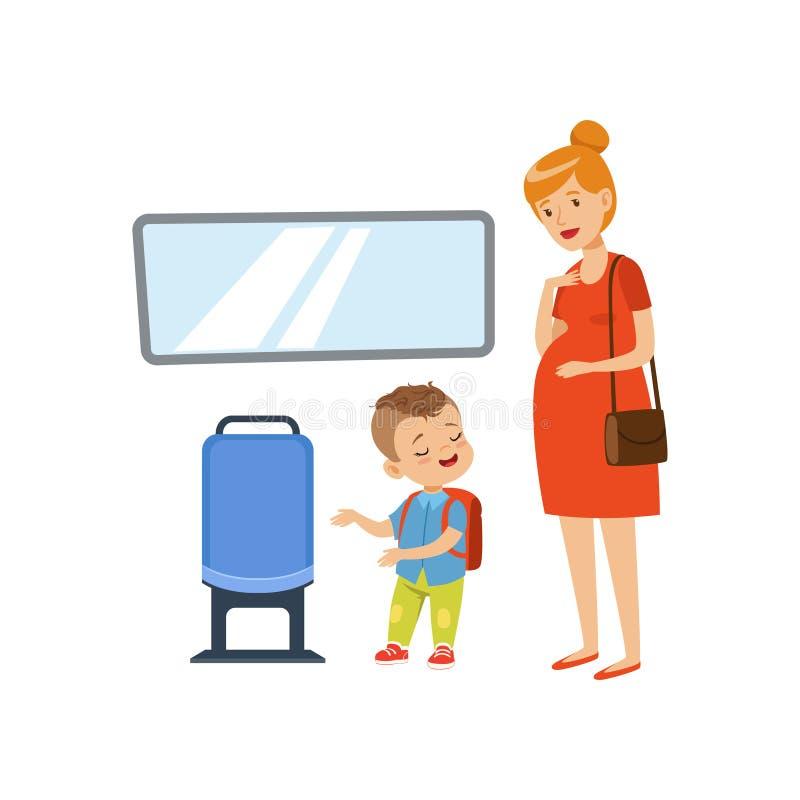 Petit garçon menant à la femme enceinte dans le transport en commun, illustration de vecteur de concept de bonnes façons d'enfant illustration de vecteur