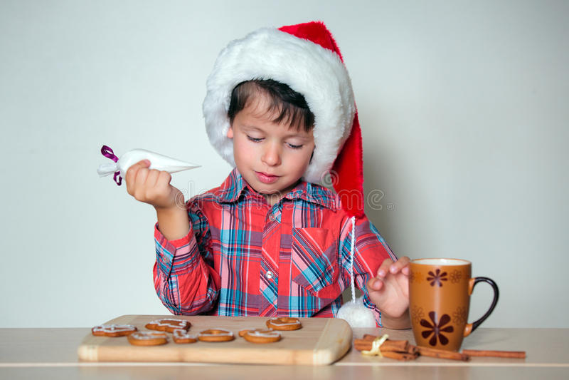 Petit garçon mignon décorant les biscuits de pain d'épice image libre de droits