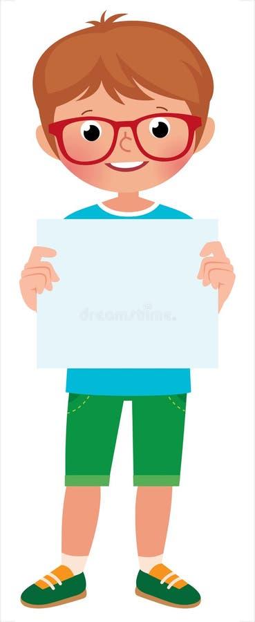 Petit garçon mignon dans la bannière intégrale de blanc de prise illustration libre de droits
