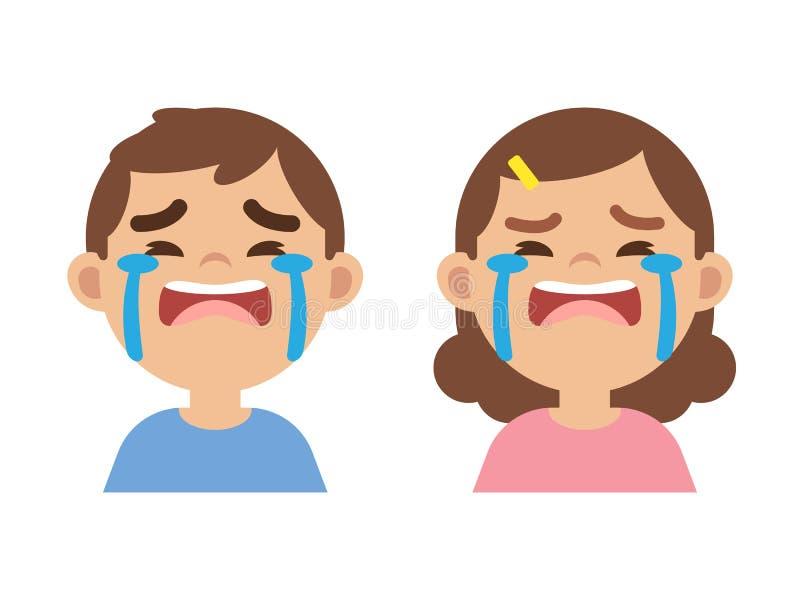 Petit garçon mignon et fille pleurant, fin vers le haut de visage, illustrat de vecteur illustration libre de droits