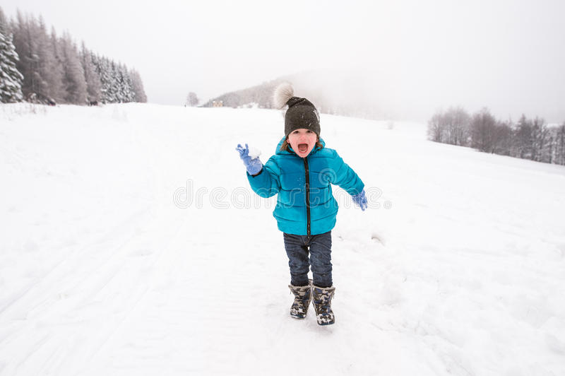Petit garçon mignon jouant dehors en nature d'hiver photographie stock libre de droits