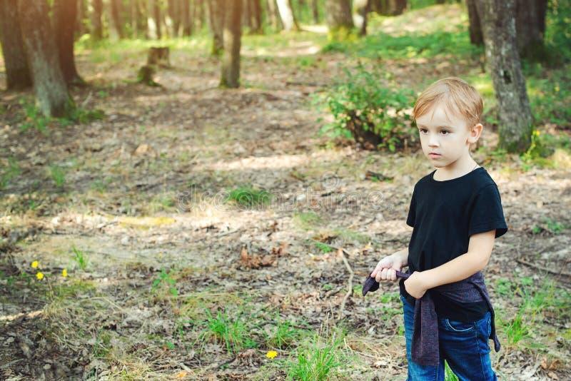 Petit garçon mignon jouant sur la nature sauvage Vacances de famille sur la campagne Enfance heureux Enfant heureux marchant dans photographie stock libre de droits