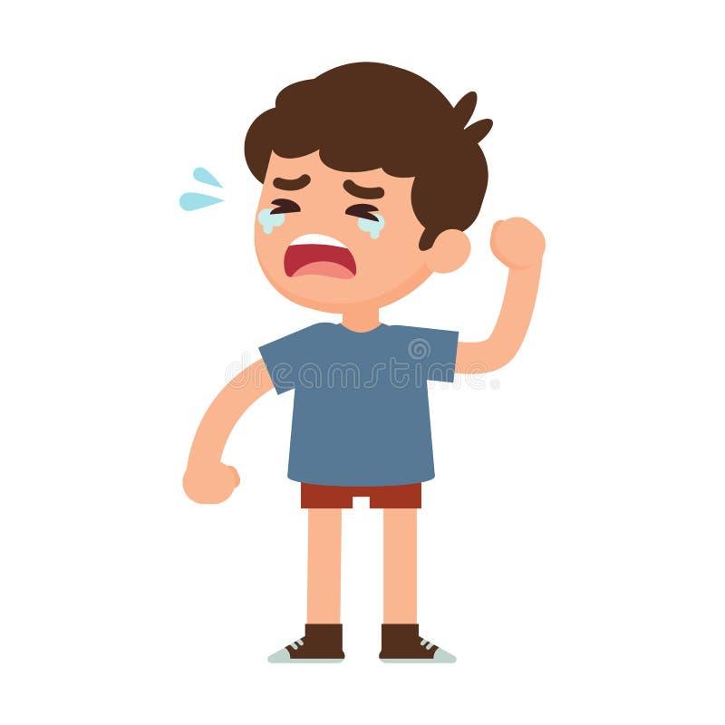 Petit garçon mignon pleurant, illustration de vecteur illustration stock
