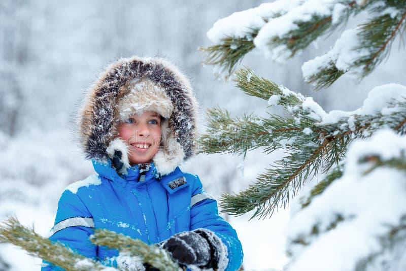 Petit garçon mignon portant les vêtements chauds jouant sur la forêt d'hiver images libres de droits