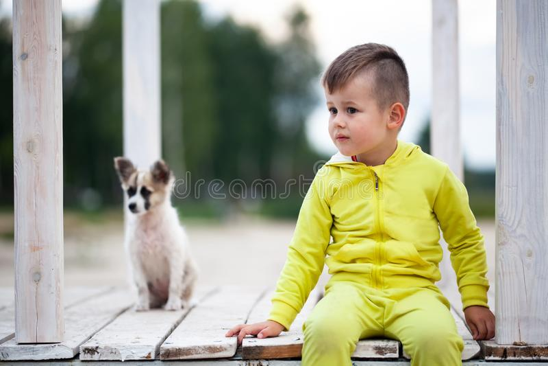 Petit garçon mignon s'asseyant sur la passerelle avec son chien Protection des animaux photographie stock libre de droits