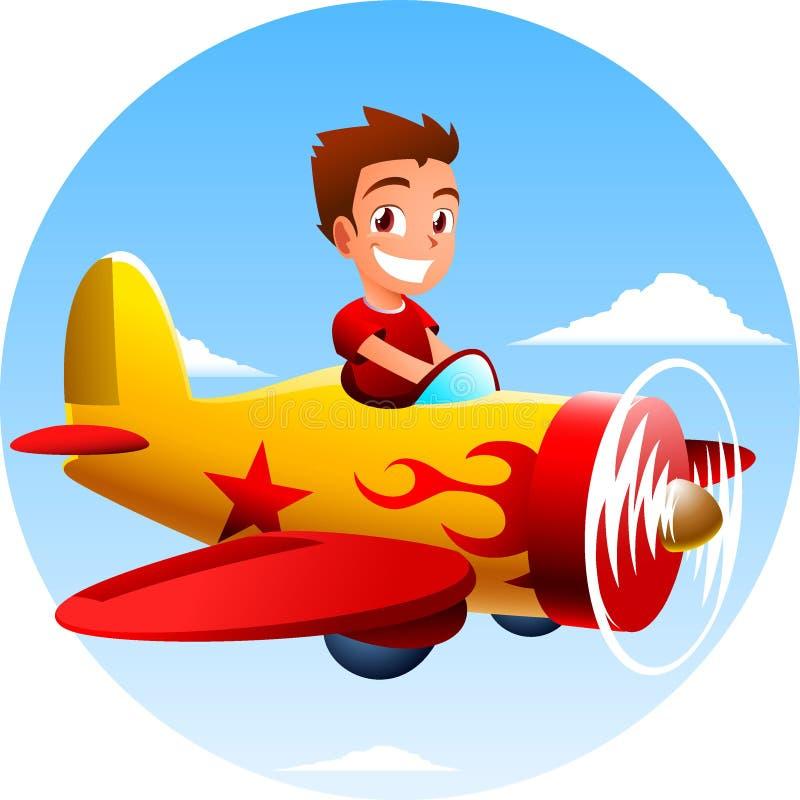 Petit garçon montant un avion illustration de vecteur
